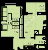 общая площадь 38,72 кв.м.