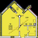 общая площадь 42.96 кв.м.
