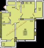 общая площадь 60,07 кв.м.