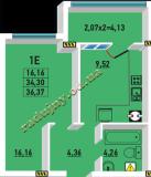 общая площадь 36.37 кв.м.