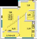 общая площадь 41.87 кв.м.