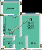 общая площадь 39.84 кв.м.