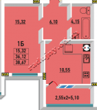 общая площадь 38.67 кв.м.