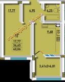 общая площадь 40.06 кв.м.