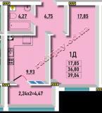 общая площадь 39.04 кв.м.