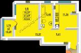 общая площадь 43.44 кв.м.
