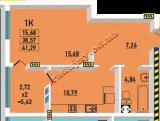 общая площадь 41.29 кв.м.